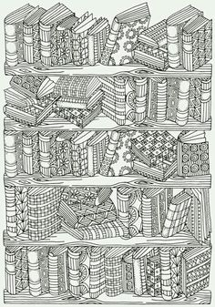 Bookshelf Doodle Coloring Page More Do you love a good book? You read a lot? If you do, then enjoy yourself while coloring this amazing, vintage Bookshelf Doodle Coloring Page. Coloring Book Pages, Printable Coloring Pages, Coloring Sheets, Colouring Sheets For Adults, Abstract Coloring Pages, Free Adult Coloring Pages, Doodle Coloring, Mandala Coloring, Coloring Canvas