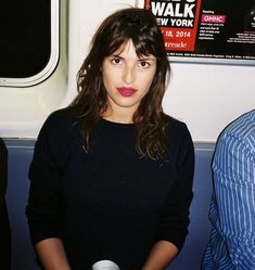 Favorite French girl, Jeanne Damas, on the New York City subway