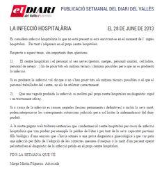 Negligencias Médicas: la infección hospitalaria  Completo en: http://www.grupomedicolegalbcn.com/es/seccion/articulos/