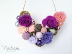 Handmade necklace. purple and rose with fuchsia felt flower.woman accessories
