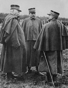 French general Fernand de Langle de Cary (1849-1927) with marshal Joseph Joffre (left) and general Adolphe Guillaumat (right)