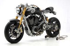 Modern cafe racer with custom aftermarket Harley Davidson motor by Sbay Motor Co