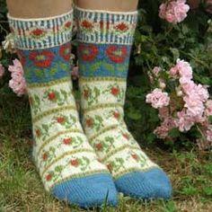 Roman de la Rose Socks designed by Catherine Wallace
