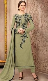 Beige Color Georgette Embroidered Churidar Suit #churidarforsaleonline #churidarsuit Evoke sudden delight and merriment where ever you go, dressed in this beige color georgette embroidered churidar suit. The fantastic attire creates a dramatic canvas with unbelievable lace, resham and stones work.  USD $ 101 (Around £ 70 & Euro 77)