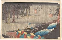 Utagawa Hiroshige, (Japanese, 1797–1858). Spring Rain at Tsuchiyama, from the series Fifty-three Stations of the Tōkaidō, 1834-35. The Metropolitan Museum of Art, New York. Rogers Fund, 1918 (JP520) | The gentle melancholy of a spring shower is suggested by delicate, crisscrossing vertical lines that subdue a daimyō procession. #spring