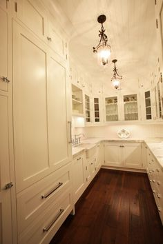 Butler's Pantry. Love the ceiling, light fixtures, cabinets, floors, everything!