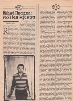 Richard Thompson, Duke Ellington, Guitar Strings, Jukebox, The Rock, Writer, Singer, Shit Happens, Music