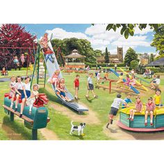 Trademark Global Trevor Mitchell The Park Playground Canvas Art - x 26 Norman Rockwell, Vintage Images, Vintage Art, Artist Canvas, Canvas Art, Picture Composition, Composition Painting, Park Playground, Puzzle Art