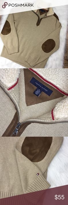 Men's xL Tommy Hilfiger camel color sweater Sz xl Tan with zip neck Shearling Detail  Elbow patches Excellent condition  29 inches long 23 inches acrosschast 28 inches in sleeve length Tommy Hilfiger Sweaters