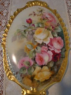 Antique Limoges France Incredible Hand Painted Porcelain Plaque  Victorian Roses ca.1891