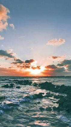 Nature Ocean Sunset Rock Beach Skyline #iPhone #6 #plus #wallpaper