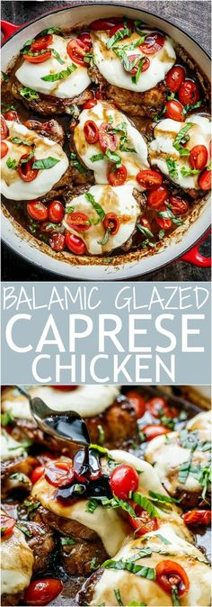 Caprese Chicken cooked right in a sweet, garlic balsamic glaze with juicy cherry tomatoes, fresh basil and topped with melted mozzarella cheese! | http://cafedelites.com