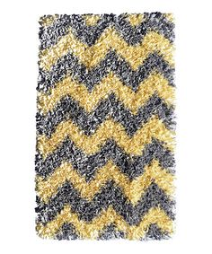 Look what I found on #zulily! Yellow & Gray Chevron Shaggy Raggy Rug #zulilyfinds
