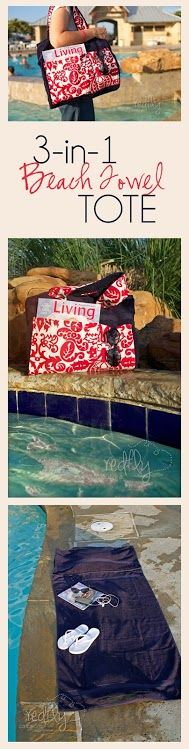 3-in-1 Beach Towel Tote from redflycreations.com.  It is a tote bag made from a towel which converts into a mat with a pillow!  Great tutorial.  #beach #sewing #DIY