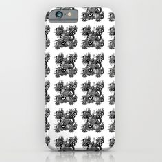 Religious Illustration BECAUSE I LOVE YOU black and white pattern iPhone & iPod Case