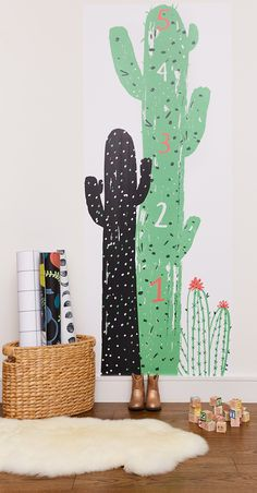 Cactus for kids room! Loving this cool peel-and-stick growth chart by NY illustrator Jordan Sondler for Chasing Paper. Girl Nursery, Nursery Decor, Cactus Decor, Nursery Neutral, Nursery Inspiration, Peel And Stick Wallpaper, Baby Decor, Girl Room, Kids Bedroom