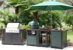 big green egg with gas grill