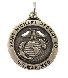 Plated Pewter Saint Michael Protect Us Marines Military Medal, 1 Inch. Plated Pewter - 1 Inch. Includes 24 Inch Endless Rhodium Plated Chain. Gift Boxed.