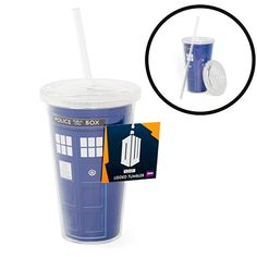 Doctor Who Tumbler Cup - Dr Who TARDIS Insulated Travel Coffee Mug with Lid and Straw - 16 oz - Commute Coffee