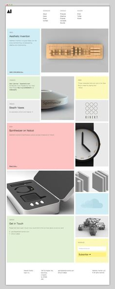 The Web Aesthetic — Aesthetic Invention. #website Beautiful use of modules and clean complimentary colours: