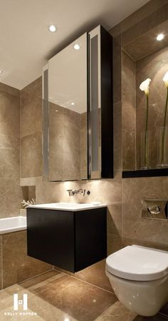 contemporary bathroom - Kelly Hoppen for Regal Homes @ Circus Road… Contemporary Bathrooms, Modern Bathroom, Small Bathroom, Luxury Bathrooms, Contemporary Interior, Bathroom Furniture, Bathroom Interior, Kelly Hoppen Interiors, Casa Clean