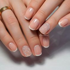 Bridal nails french, short french tip nails, bridal nail art, shellac french manicure Shellac French Manicure, French Manicure Designs, Natural French Manicure, French Manicure Nail Designs, Gel Nails French Tip, Sparkle French Manicure, French Manicure With A Twist, Color French Manicure, Short Nail Manicure