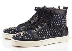 "Christian Louboutin Louis Flat Spikes ""Denim"""