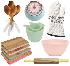 kitchen, baking, kitchen supplies, baking supplies, kitchen timer, wooden spoons, cooks don't do dishes oven mitt, jadeite measuring cups, pink milk glass mixing bowl, yellow wooden rolling pin, colorful wooden cutting board