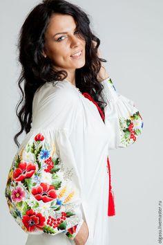 Red emroidered dress ukrainian hand by Handembroiderykvitka