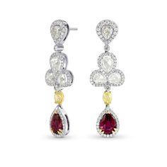 Extraordinary Ruby & Fancy Yellow Diamond Drop Earrings, SKU 162720 (6.89Ct TW)