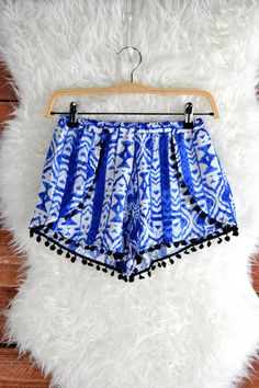blue and white patterned shorts - can we say pjs for me what would be casual clothes for most? Still cute do