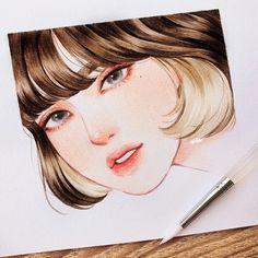 Kpop Drawings, Art Drawings Sketches, Pink Drawing, Art Inspiration Drawing, Digital Art Girl, Pretty Art, Aesthetic Art, Cartoon Art, Watercolor Art
