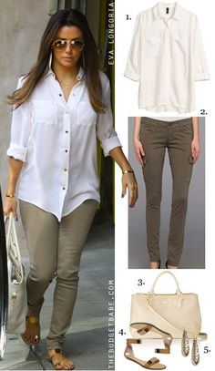 Dress by Number: Eva Longoria's White Blouse, Olive Skinnies and Gold Plated Sandals - The Budget Babe
