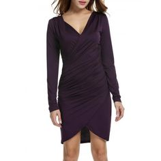 Women Long Sleeve Deep V-neck Pencil Dress Bodycon Solid Slim Party Banquet Knee Dress
