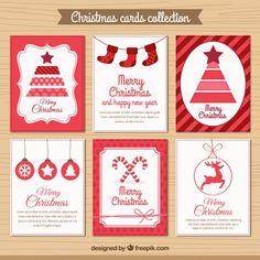 Coleção Cartão de Natal vermelho Vetor grátis