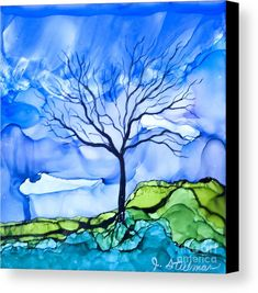 Alcohol Ink Painting - Blue Tree by Jane Steelman Alcohol Ink Tiles, Alcohol Ink Crafts, Alcohol Ink Painting, Tree Canvas, Canvas Art, Canvas Prints, Copics, Art Pages, Tree Art