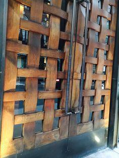 Patio Door Blinds, Patio Doors, Wood Fence Design, Gate Design, Rustic Doors, Wooden Doors, Lattice Fence Panels, House Main Door, Wine Barrel Wall