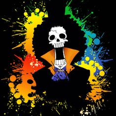 One piece Brook colorful grunge Available as Cards, Prints, Posters, T-Shirts & Hoodies, Kids Clothes, Stickers, iPhone & iPod Cases, and iPad Cases and Samsung Case