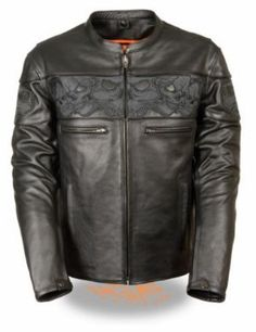 Milwaukee Night Reflective Tribal Skull Band Motorcycle Scooter Jacket is made of naked cowhide leather with 2 inside dual conceal carry pockets having built in holsters, and a night reflective tribal skull band pattern design with a scooter collar for the most stylish look.