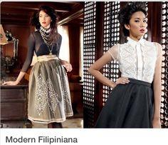 Modern Filipiniana *Barong Tagalog dress for Romantic Gamine on right Modern Filipiniana Gown, Filipiniana Wedding, Fashion 101, Modern Fashion, Fashion Outfits, Philippines Fashion, Philippines Dress, Filipino Fashion, Grad Dresses