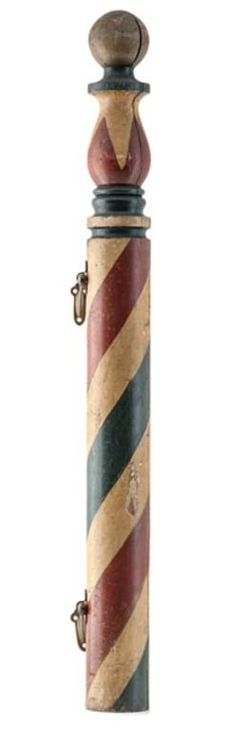 Barber Pole; Turned Wood, Ball on Vase Finial, Brass Hanging Hooks, 44 inch.
