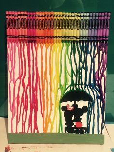 Melted Crayon Art Mickey & Minnie