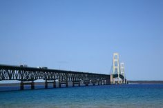 Mackinac Bridge. Suspension bridge connecting Upper and Lower peninsulas of Michigan.