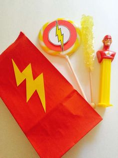Take home favor bags at a Flash birthday party! See more party ideas at CatchMyParty.com!