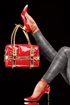 * Walking in Style * / Red and Gold | Heels and Purse |Gold Heels|