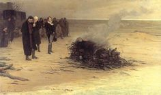 The Funeral of Shelley, L. Édouard Fournier (1889); pictured in the centre are, from left, Trelawny, Hunt & Byron.