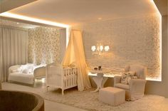 http://www.justsoakit.com/wp-content/uploads/2015/01/luxury-baby-nursery-room-design-with-white-baby-bedding-set-plus-canopy-as-well-amazing-led-lighting-on-the-wall-and-ceiling-including-floral-wallpaper-beside-sofa-bed-970x645.jpg