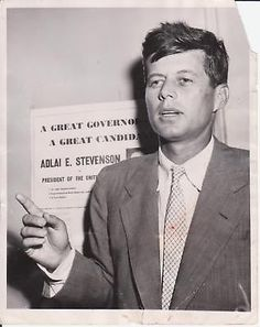 July 22nd, 1952 - Representative John F. Kennedy (D-MA) Holds Press Conference to Announce that he has Formed a Congressional Committee to Support Governor Adlai Stevenson for President - Original Associated Press (AP) News Wire Photograph