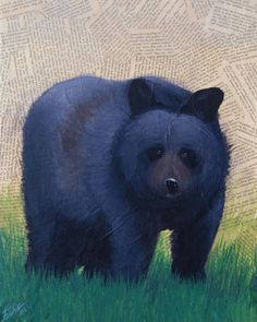 "This acrylic mixed media piece is of a black bear. It is made from acrylic and pages from the novel, ""Pride and Prejudice"". This print will be mailed to you on acid free 65 pound cardstock paper in a sturdy photo envelope. Abstract Animal Art, Bear Art, Black Bear, Wildlife, Crib, Tattoo, Etsy, Vintage, Crib Bedding"