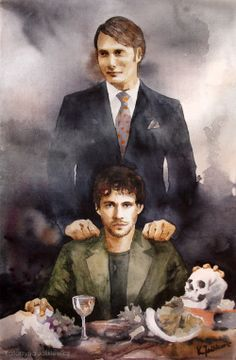 Will Graham and Hannibal. Watercolours on paper.